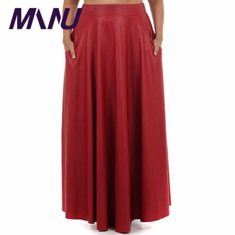 b854564048 Fashion Brand Designers Faux Leather Pleated Maxi Skirt Chic Women's Black  Plus Size PU Leather 95 100CM Long Skirt With Pocket-in Skirts from Women's  ...