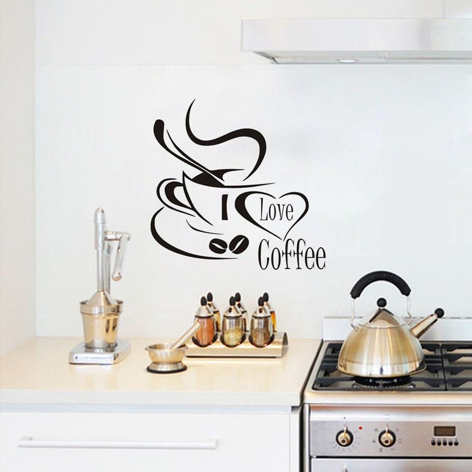 Großhandel Ich Liebe Kaffee Wandtattoo Nette Kaffeetasse Wandaufkleber  Küche Restaurant Küche Tasse Mit Liebe Herz Vinyl Removable Wallpaper Von  ...