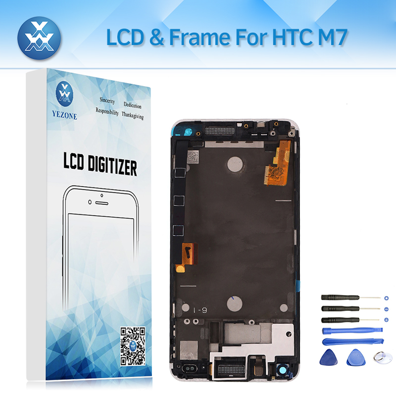 4.7 inch Lcd Screen For HTC One M7 Lcd Display Touch Glass Digitizer With Frame Assembly Mobile Phone Parts Replacement Tools