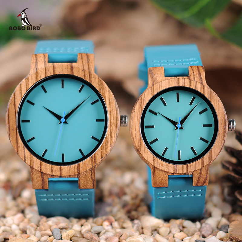 Couple Watch BOBO BIRD Zebra Wooden Genuine Leather Strap Quartz Watches Simple Blue Dial With Environmental Gift Box