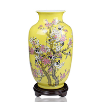 Jingdezhen Ceramics Yellow Glaze Mei Flower Vases Crafts Magpie Melon Home Furnishing Decorative Ornaments Wholesale
