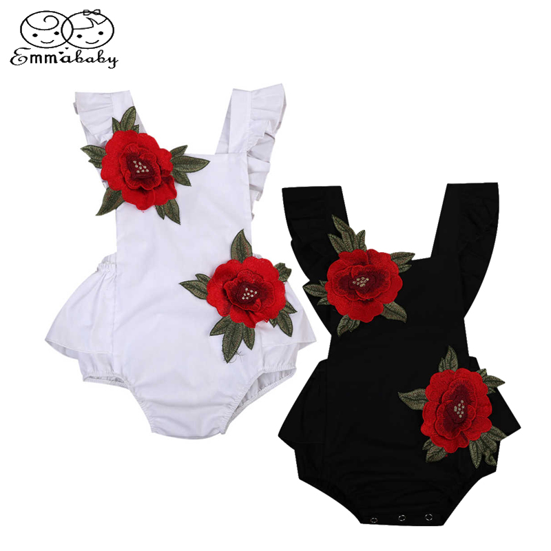 Emababy Newborn Baby Girls Vintage Floral Embroideried Floral Sleeveless Backless   Romper   Jumpsuit Clothes Outfits