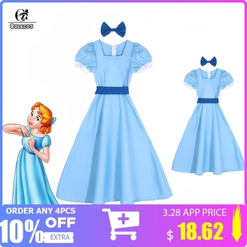 ROLECOS Wendy Darling Dress Peter Pan Cosplay Costumes Girl Blue Dress Women Long Costume Halloween Party Rachel Cosplay