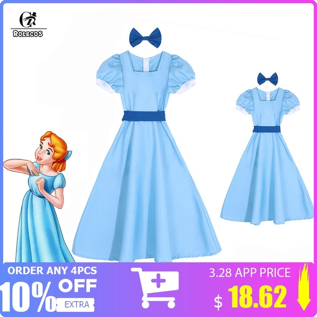 63f0603f789c5 US $21.28 44% OFF|ROLECOS Wendy Darling Dress Peter Pan Cosplay Costumes  Girl Blue Dress Women Long Costume Halloween Party Rachel Cosplay-in Movie  & ...