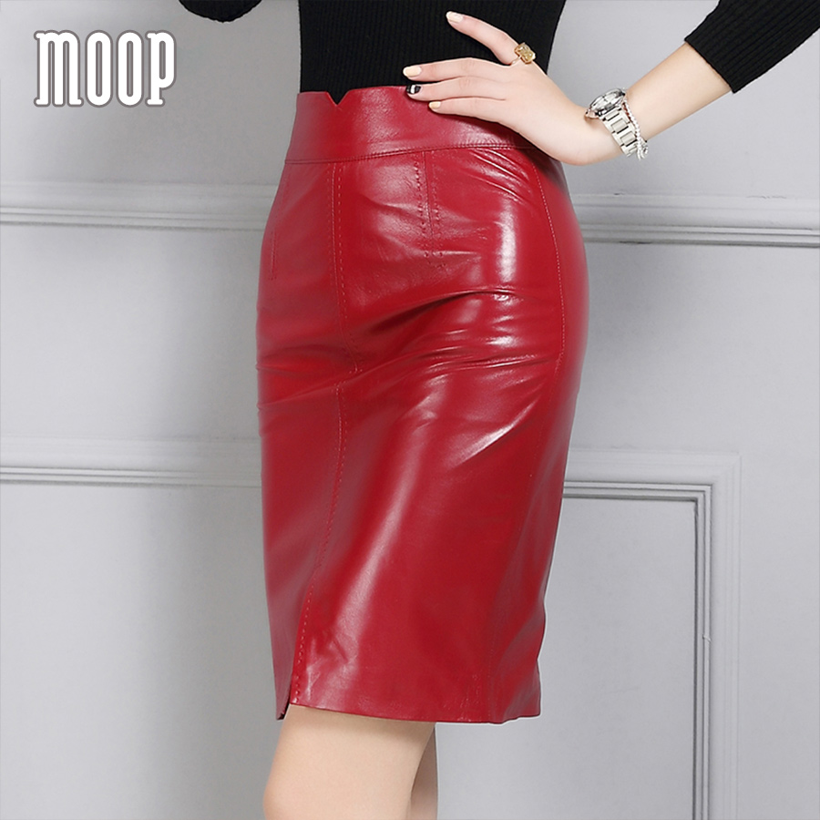 OL style red black genuine leather skirts women slim split pencil skirt faldas jupe saia etek grained lambskin skirt LT959