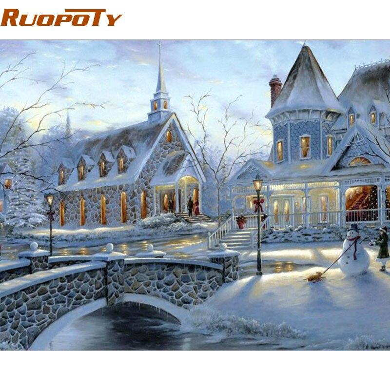 RUOPOTY Telaio Neve Paesaggio Diy Pittura Con i Numeri Dipinto A Mano Olio Pittura Per La Decorazione Domestica Con Telaio 40x50 cm Regalo Unico
