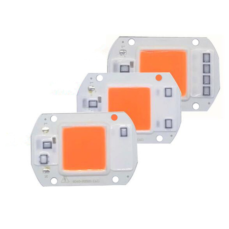 LED COB Full Spectrum Chip 20W 30W 50W AC220V/110V Plant Grow Light LED Floodlight Lamp Module 380-840nm 1pcs