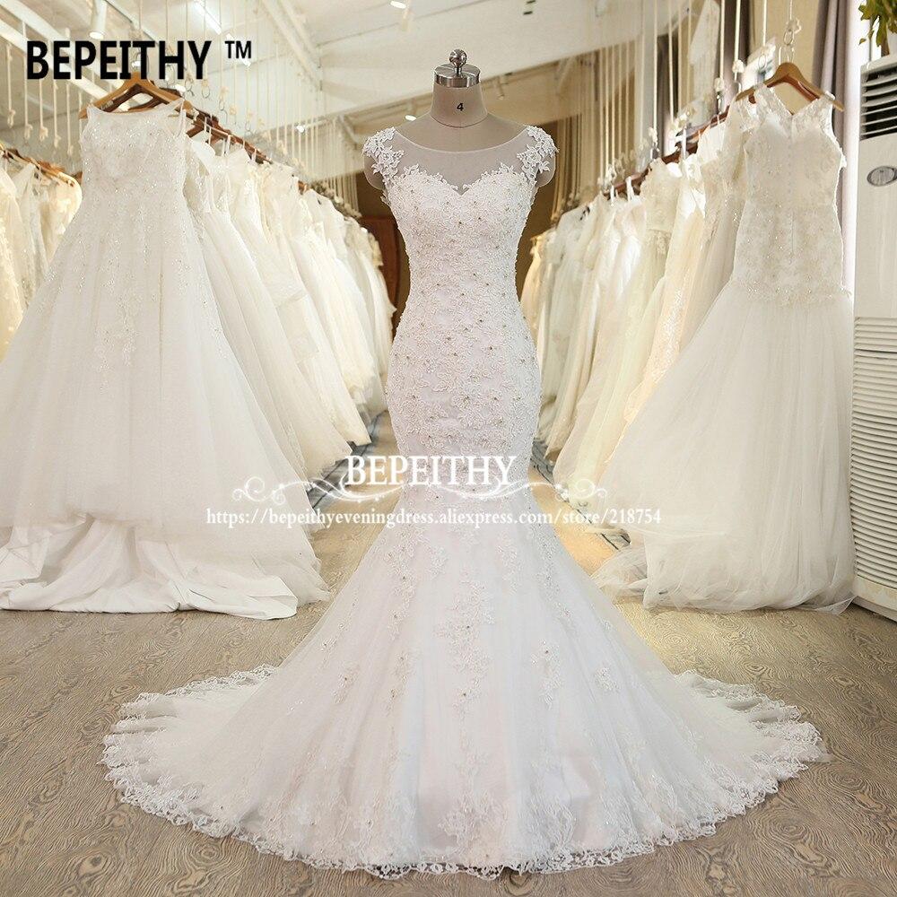 Luxurious Mermaid Wedding Dress Court Train Lace Vintage Vestido De Novia Sleeveless Bridal Dresses 2019 BEPEITHY