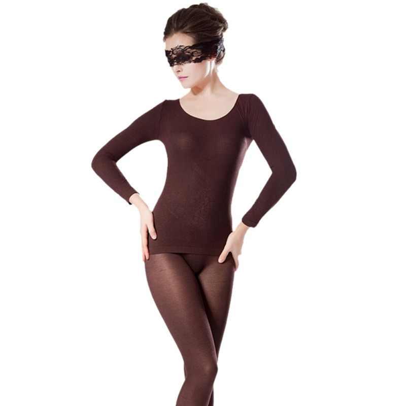 Nouveau solide couleur sans couture lumière haute élastique femmes thermique sous-vêtements ensembles élasticité en forme de sous-vêtements ensemble Sexy longs Johns