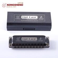 Kongsheng высокое качество Губные гармоники 10 отверстий Диатоническая Блюз Арфа Профессиональный Губные гармоники Ключ C/D/E/F/ ga/BB ks-10bh черный цвет
