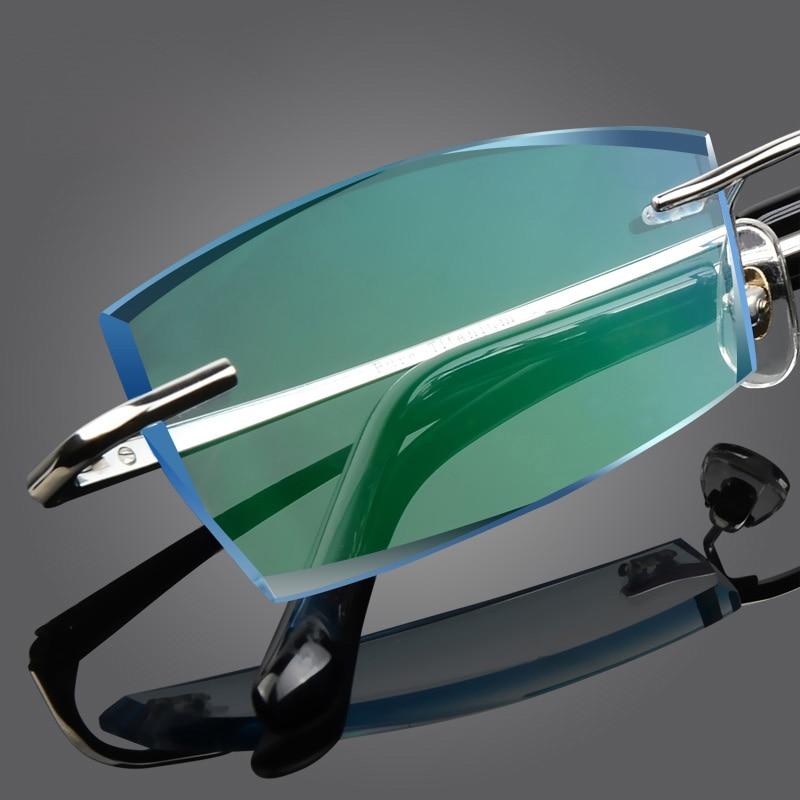 ახალი სუფთა ტიტანის უწყვეტი სათვალეები კაცი და ქალი Diamond მოჭრილი მიოპიური სათვალეები Hyperopia სამკურნალო სათვალეები სათვალე