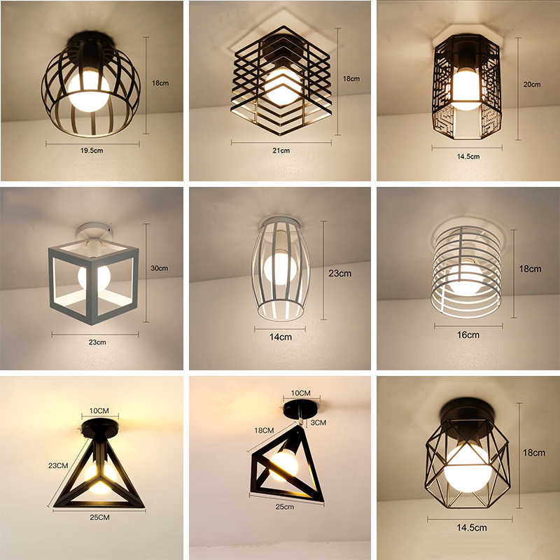 LED Ceiling Lights Modern Plafondlamp Home Lighting Living Room Vintage Cage Ceiling Lamp Lampara Techo Suspension Luminaire E27