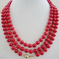 Đẹp 8 mét màu đỏ san hô Vòng hạt vòng cổ 48