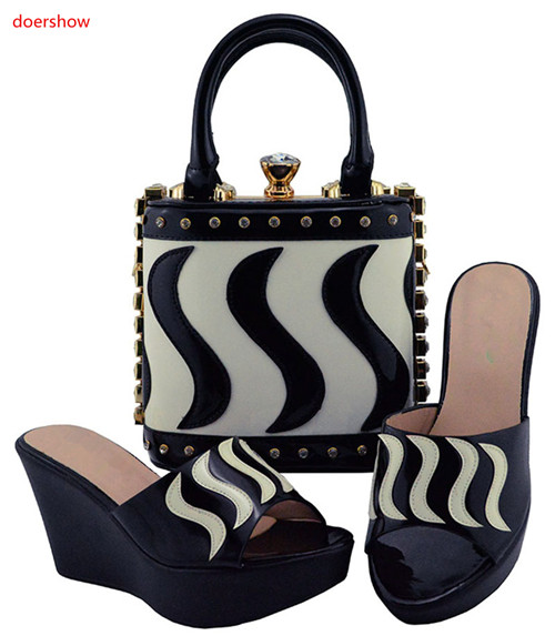 doershow African black Shoes And Bag To Match High Quality Italian Shoes and Bag Set Nigerian Party Shoe and Bag Set! HUU1-14 capputine african style shoes and bag to match high quality italian shoes and bag set nigerian party shoe and bag set wedding