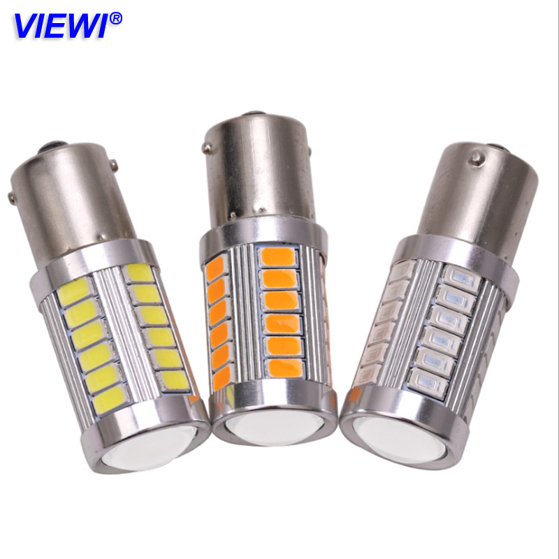 Viewi 10X S25 1156 1157 led car lights 12v Auto turn Signal Brake Light Reverse Lamp P21W BA15S Ba15d 5730 33 leds Tail Bulb