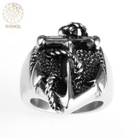 VCOOL Wholesale Punky Retro Anchor Ring For Men Stainless Steel Soldier Military Pirates Rings Personality Unisex