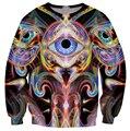Разворачивается Видения Толстовка три глаза с психоделическим форма проведения их 3D печати Случайный пуловеры Женщины Мужчины Перемычка топы