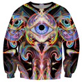 Unfolding Vision Sweatshirt three eyes with a psychedelic form holding them up 3D print Casual pullover Women Men Jumper tops