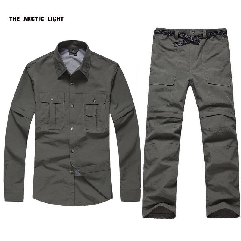 Outdoor UV Resistant Fast Drying Speed removeable Men Quick Dry Shirt Pants Active Pants sports suit
