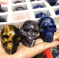 2 Inch Natural Amethyst Handmade Skull Jade Skull Gemstone Carving Crystal Healing Reiki Home Decor Stone Crystal Craft