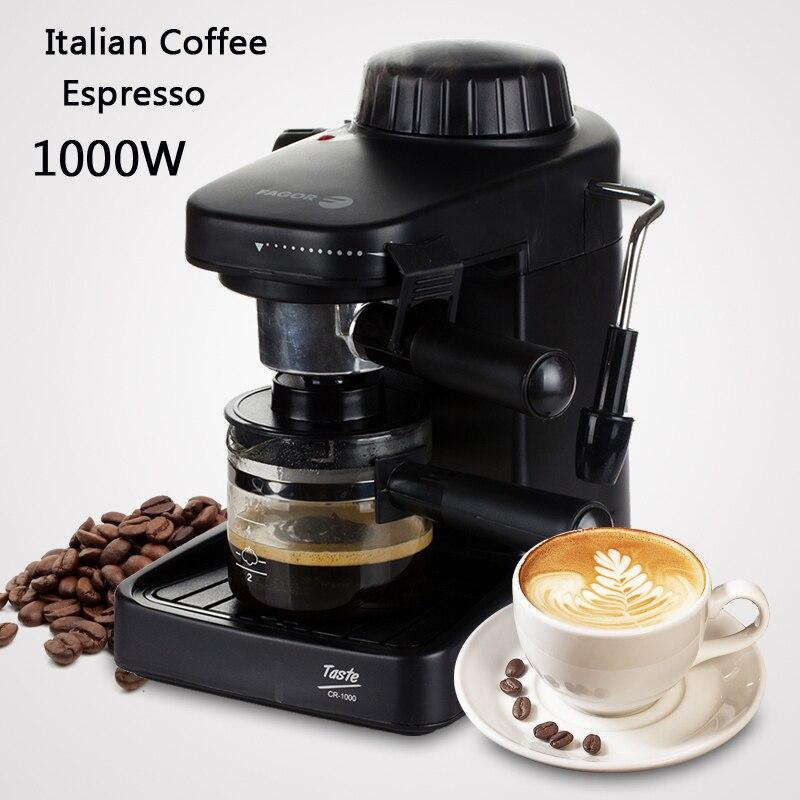 Italian Coffee Machine Espresso maker with handle 1000W Automatic Steam Fancy Coffee Maker Set Milk Foam GR-100 selfies coffee printer milk tea yogurt cake printing machine with wifi