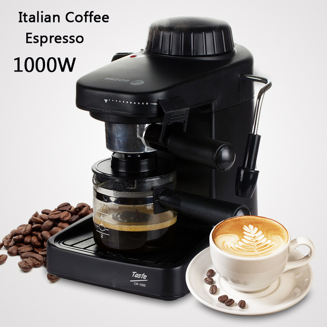 Italian Coffee Machine Espresso Maker With Handle 1000w Automatic Steam Fancy Set Milk Foam