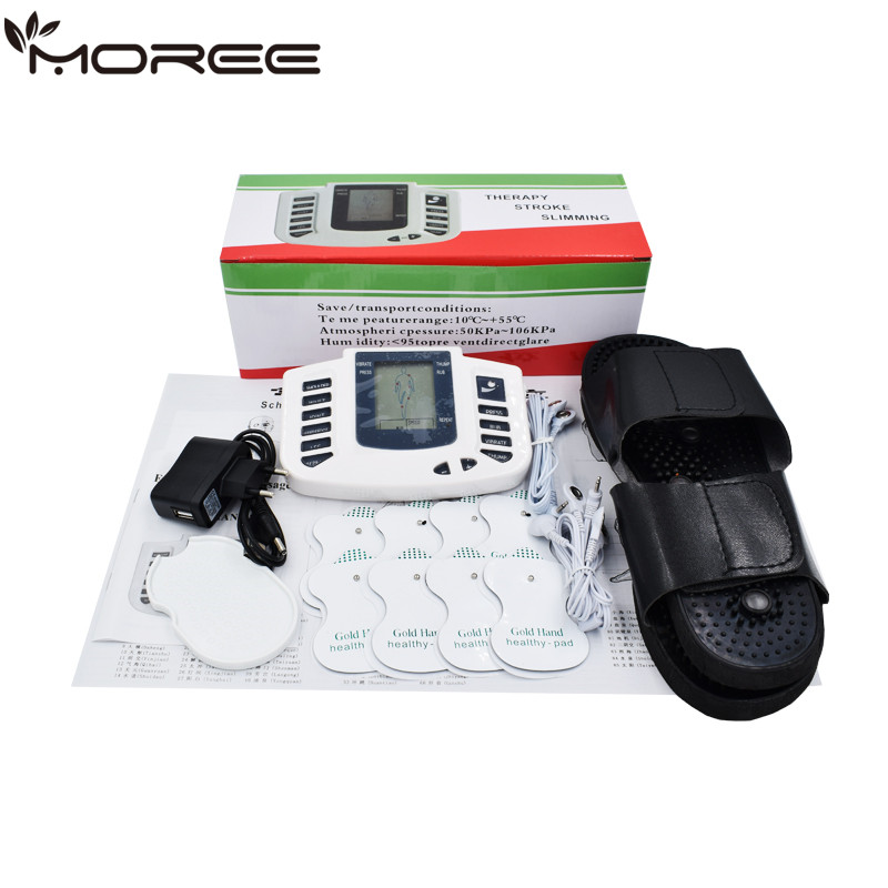 New Russian button Electrical Muscle Stimulator Body Relax Muscle Massager Pulse Tens Acupuncture Therapy Slipper+8 Pads+box herbal muscle