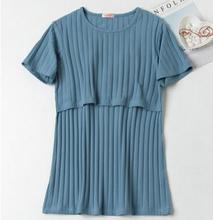 Ropa de lactancia 2018 primavera verano moda de manga corta maternidad Tops ropa de lactancia para mujeres embarazadas embarazo WX951