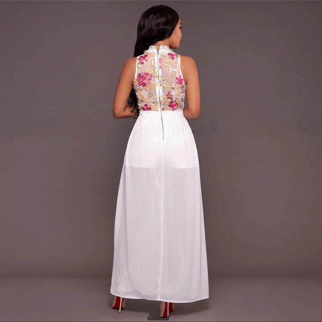 Mesh Floral Lace Perspective Lined Maxi Dress 1