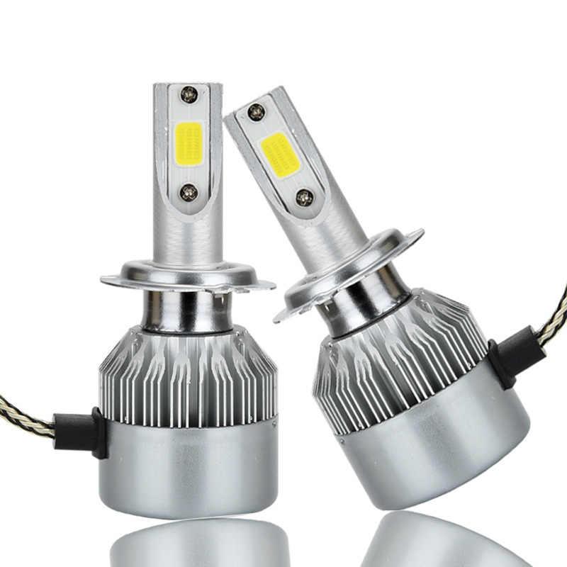 2 pcs LED 4300 K C6 H4 H7led H1 COB LED פנס נורות H11 H13 12 V 9005 9006 H3 9004 9007 9012 72 W 8000LM רכב LED מנורת 6500 K