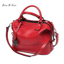 women messenger bag crossbody bags genuine cow leather rivets handbag totes shoulder bag red black grey purple color 2017 new