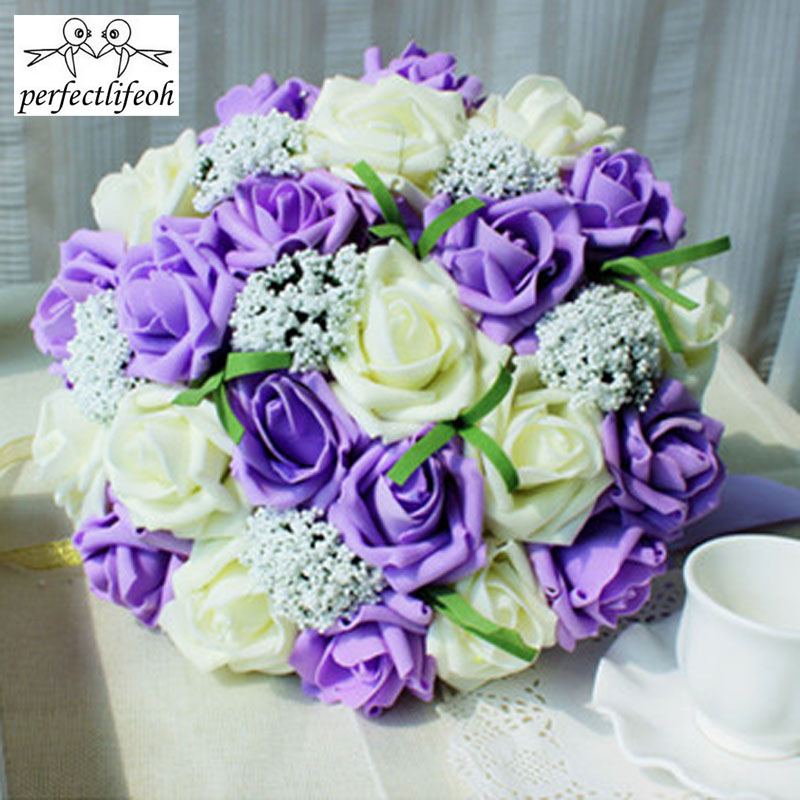 Image 2 - perfectlifeoh Bride holding flowers Romantic Wedding Colorful Bride 's Bouquet,red pink blue and purple bridal bouquetspurple-in Wedding Bouquets from Weddings & Events