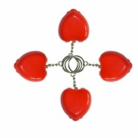 50PCS Protect CPR Masks KeyChian Mouth To Mouth Rescue Shields in mini Heart Box Red