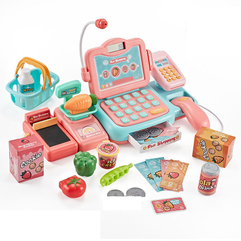 24Pcs/set Electronic Mini Simulated Supermarket Cash Register Kits Toys Kids Checkout Counter Role Pretend Play Cashier Girl Toy