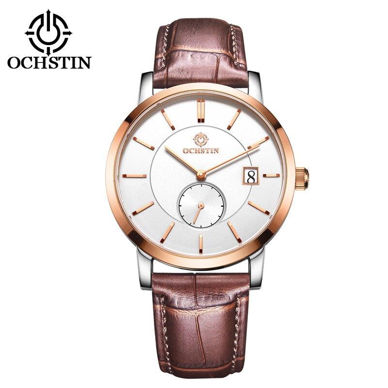 c33e44d0f81e Marca clásica de moda informal de negocios reloj hombres cuarzo analógico  relojes correa de cuero de zafiro calendario reloj impermeable