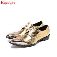 En Métal de mode Bout Carré Hommes Lacent Chaussures Or Noir couleur Choisir Hommes Chaussures Bas Talon Respirant Casual Chaussures Chaussures Homme