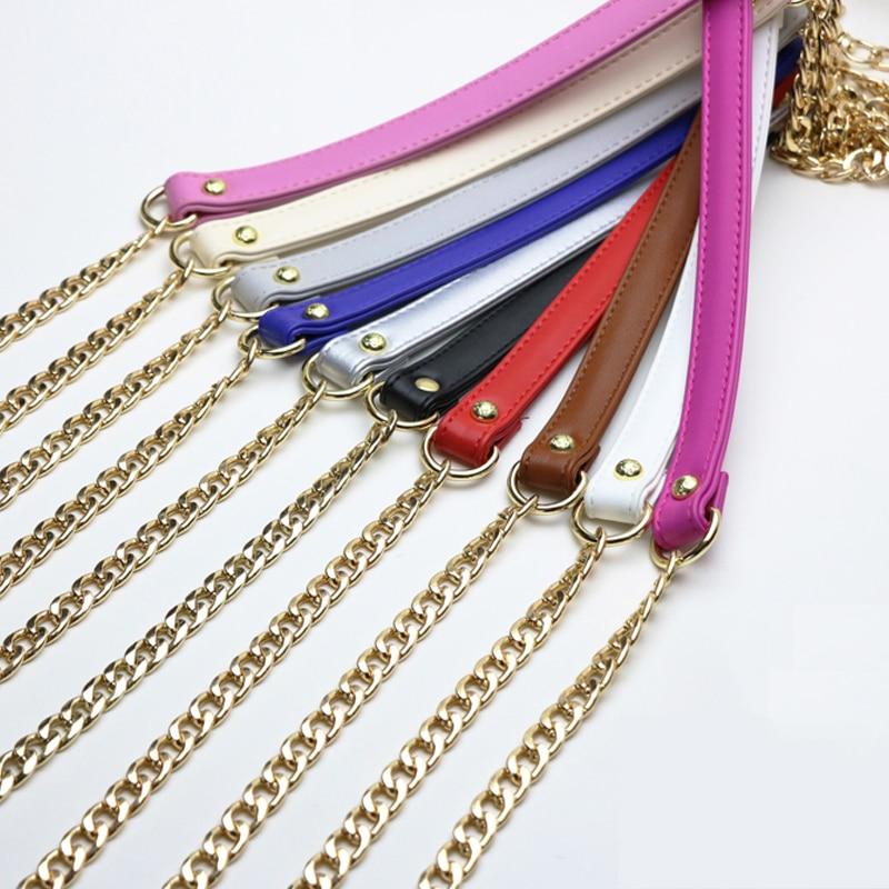 Fashion Oblique Shoulder Ladies Bag Chain Accessories Metal PU Leather Decompression Belt