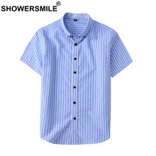 b7235f63b74 SHOWERSMILE Рубашка в полоску Для мужчин Smart Повседневная рубашка  короткий рукав сине-белые Летний Стиль
