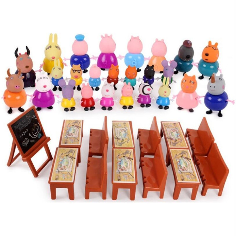Fashion Styles Peppa Pig George Family Role Grandpa Grandma Dad Mom Action Figure Model Pelucia Children Toys Birthday Gifts