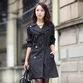 Пальто весной и осенью элегантный тонкий Длинный участок черно-хаки пальто 1218 плюс размер m-4xl