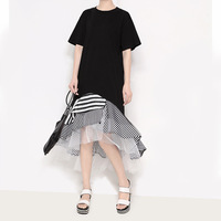 YSMARKET Women Dresses 2018 Newest Fashion Stitching Stripe Hem Irregular Dress Femme Asymmetry Slim Long Sleeve