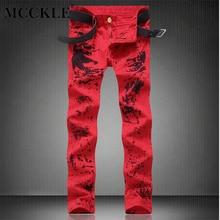 Mcckle mode herren rote blume gedruckt jeans hosen slim fit bemalte jeans joggers männlich club tragen gerade jean hosen q2688