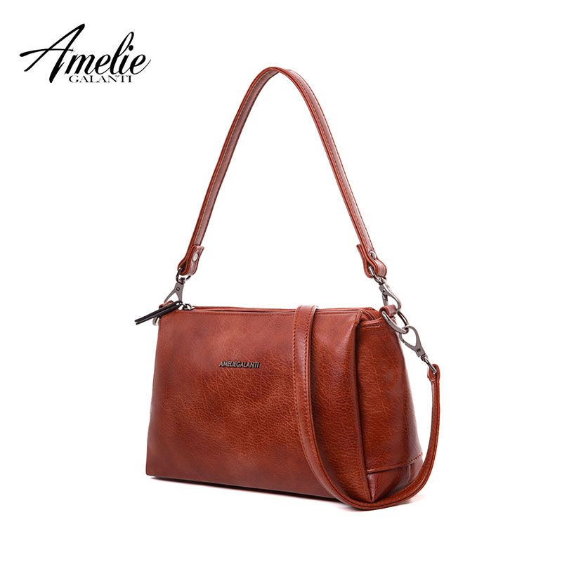 AMELIE GALANTI small 3 zipper crossbody bag for women PU Leather zipper multi pocket purse with shoulder strap