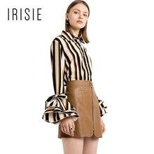 Irisie одежда Flare рукавом сладкий полоса блузка рубашка тонкий Повседневное жабо женский топ, футболка завязками на манжетах рюшами Весна Для женщин блузка