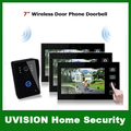 3V1 7 pulgadas 2.4G Wireless Puerta Timbre Del Teléfono Del sistema de Intercomunicación Key Touch Cámara con Almacenamiento de Fotos