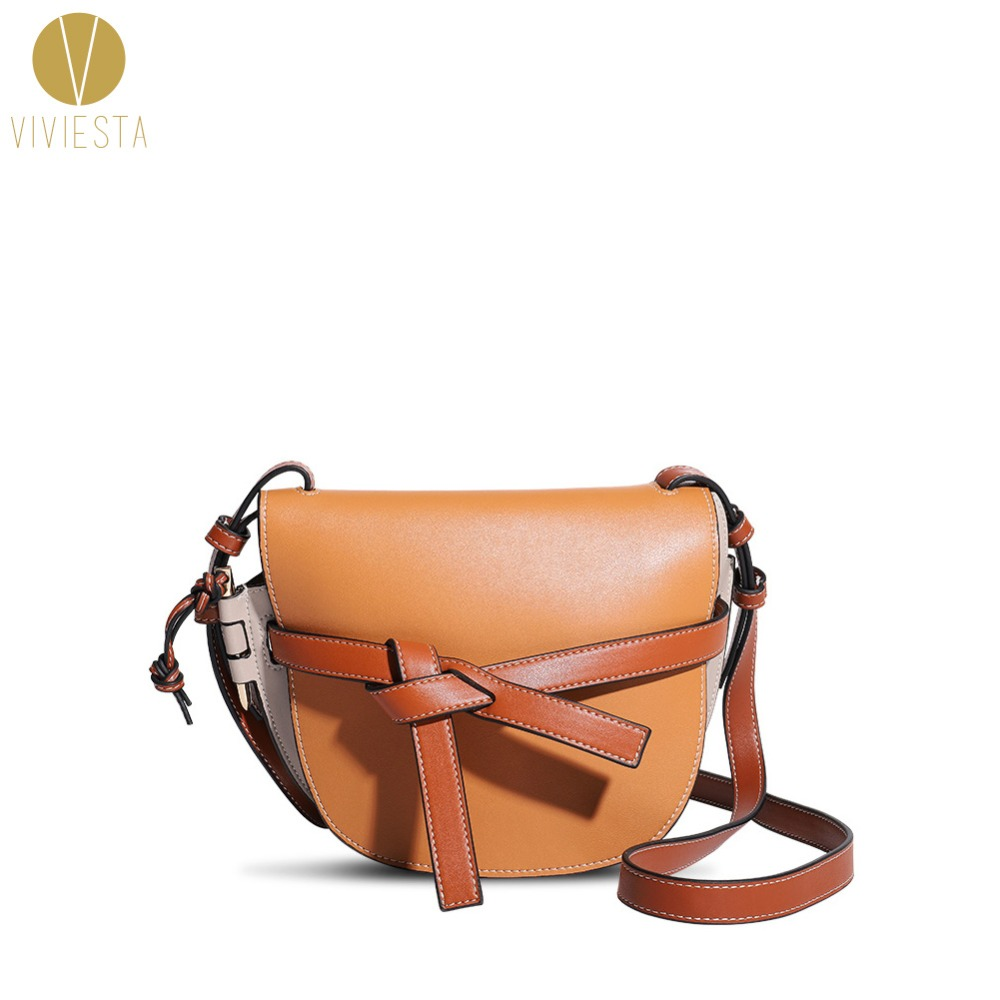 цена на GENUINE LEATHER KNOT SADDLE BAG - Women's 2018 Fashion Runway Knotted Belt Contrast Color Mini Clutch Crossbody Shoulder Handbag
