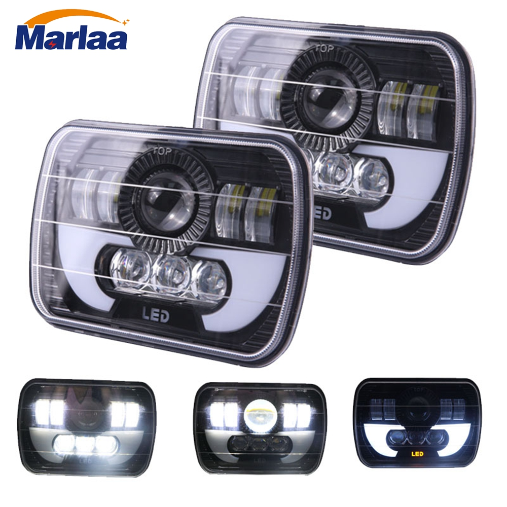Marlaa 5X7 7X6 inch Rectangular Sealed Beam LED Headlight With Position Light For H6014 H6052 H6054 H6052 LED Headlight 1 Pair 1 pair 7 inch rectangular led headlight