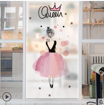 Wohnkultur GüNstig Einkaufen Transparent Opaque Film Elektrostatische Aufkleber Wc Fensteraufkleber Bad Schöne Frau Milchglas Stickers-1