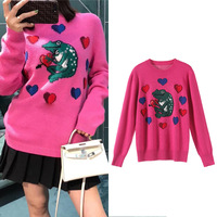 New Sweet Frog Loving Jacquard Loose Round collar Long sleeved Rose Pink Pullover Sweater SA0629
