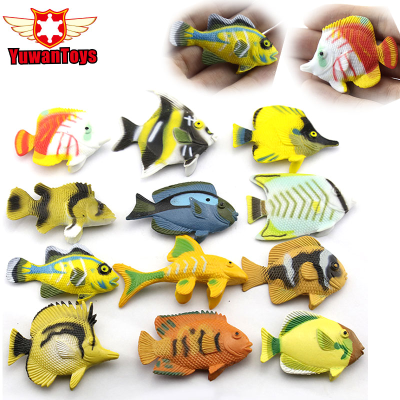 12pcs/Lot Plastic Fishing Toys Set For Kids Children Fish Model Play Games Model Toys Play Fishing Games Baby Bath Action Figure